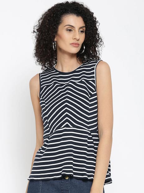United Colors of Benetton Women Navy & White Striped Top