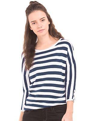 U.S. Polo Assn. Women Striped Drop Shoulder Top