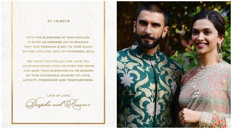 Deepika Padukone and Ranveer Singh Wedding Announcement