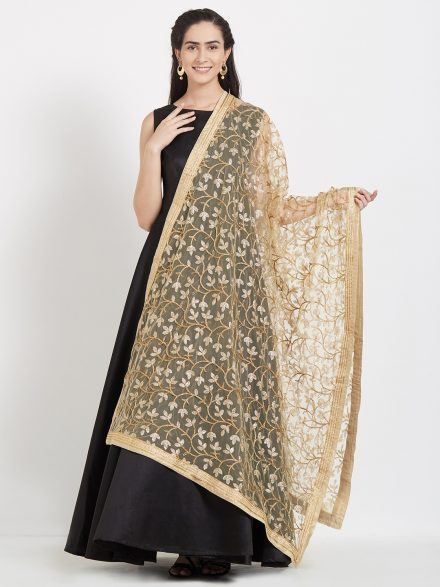 Embroidered Gold Net Dupatta
