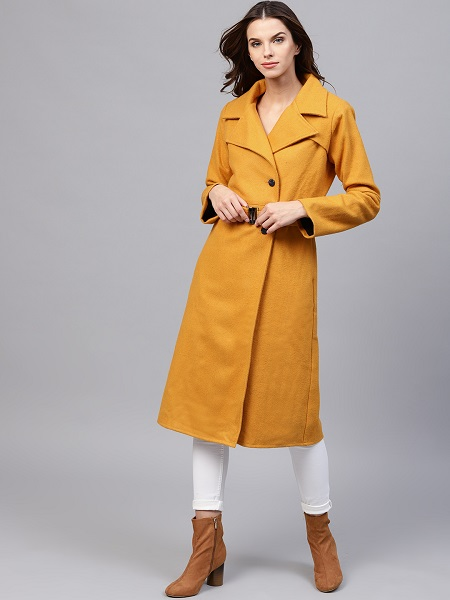 Mustard Yellow Longline Overcoat For Women