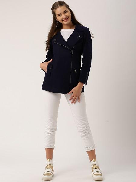 Navy-Blue Notched Lapel Coat For Women