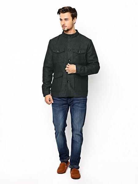 Charcoal Grey Mock Collar Coat For Men