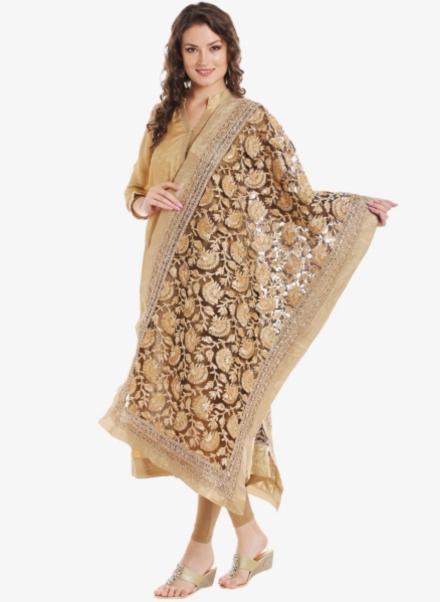 Embellished Gold Net Dupatta