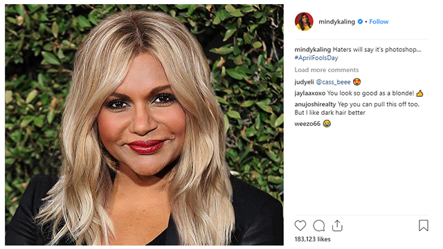 Mindy Kaling Went Blonde For April Fools Day